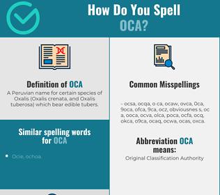 Correct spelling for oca