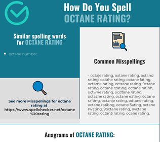 Correct spelling for octane rating