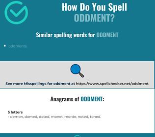 Correct spelling for oddment