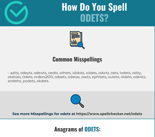 Correct spelling for odets