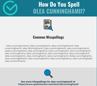 Correct spelling for Olea Cunninghamii