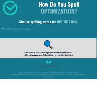 Correct spelling for optimization