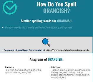 Correct spelling for orangish