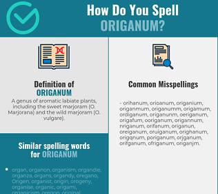 Correct spelling for origanum