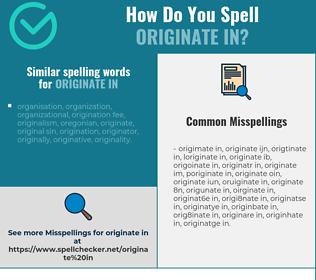 Correct spelling for originate in