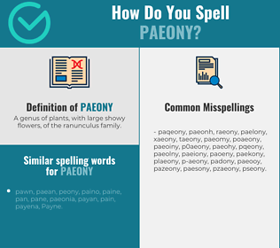Correct spelling for paeony