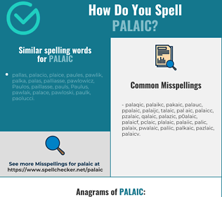 Correct spelling for palaic