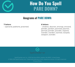 Correct spelling for pare down