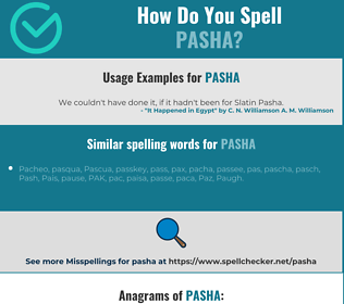 Correct spelling for pasha