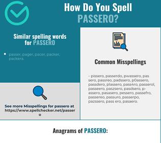 Correct spelling for passero