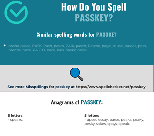 Correct spelling for passkey