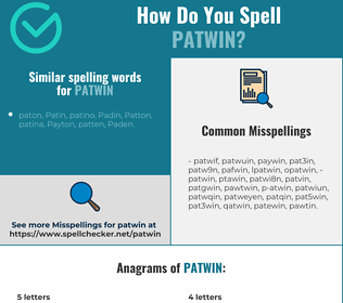 Correct spelling for patwin