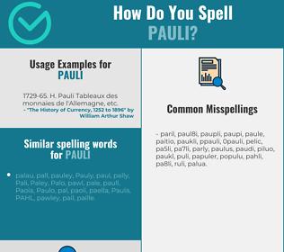 Correct spelling for pauli