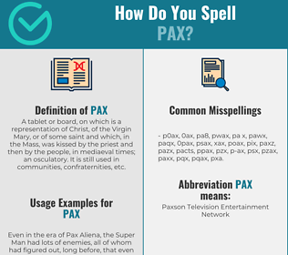 Correct spelling for pax