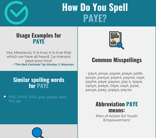 Correct spelling for paye