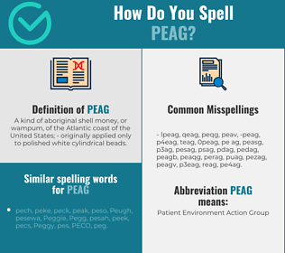 Correct spelling for peag