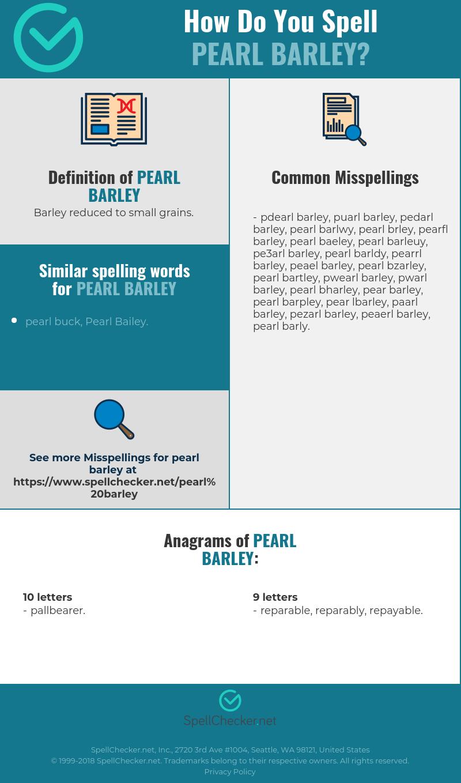Correct spelling for pearl barley [Infographic] | Spellchecker.net