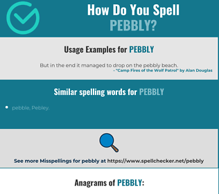 Correct spelling for pebbly