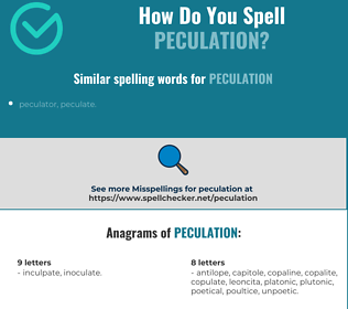 Correct spelling for peculation