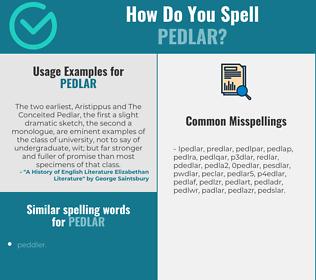 Correct spelling for pedlar