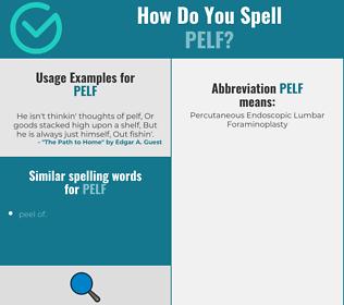 Correct spelling for pelf