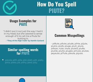 Correct spelling for piute