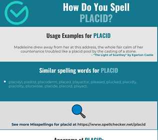 Correct spelling for placid