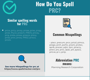 Correct spelling for prc