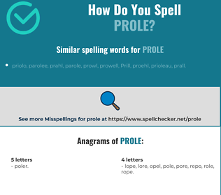 Correct spelling for prole