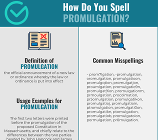 Correct spelling for promulgation