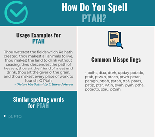 Correct spelling for ptah