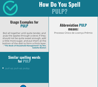 Correct spelling for pulp