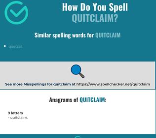 Correct spelling for quitclaim