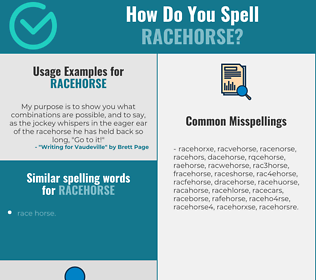 Correct spelling for racehorse