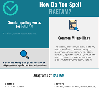 Correct spelling for raetam