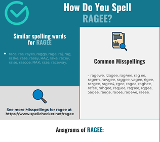 Correct spelling for ragee