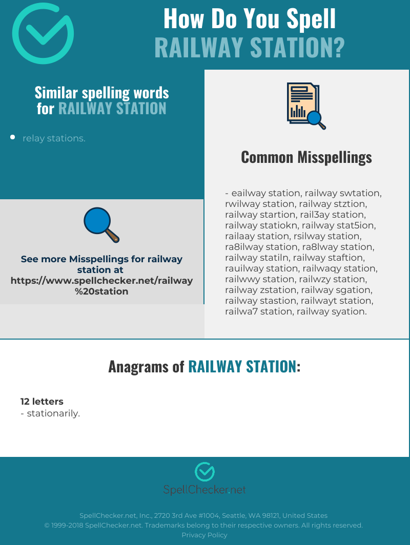 Correct spelling for railway station [Infographic