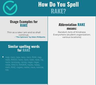 Correct spelling for rake