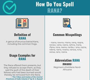 Correct spelling for rana