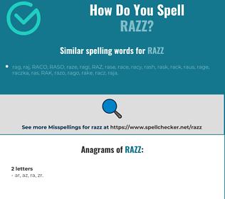 Correct spelling for razz