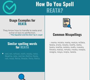 Correct spelling for reata