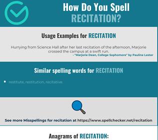 Correct spelling for recitation