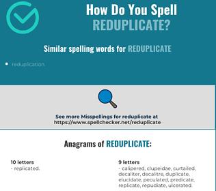 Correct spelling for reduplicate