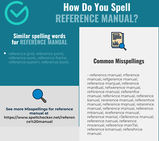 Correct spelling for reference manual