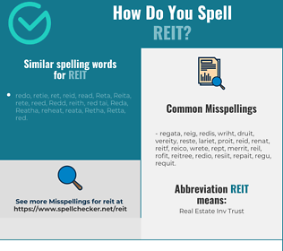 Correct spelling for reit