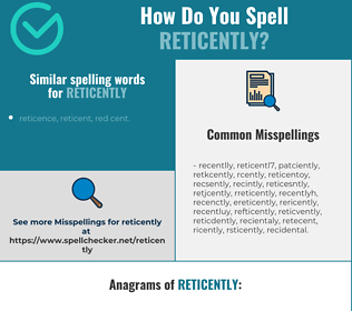 Correct spelling for reticently