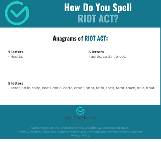 Correct spelling for riot act
