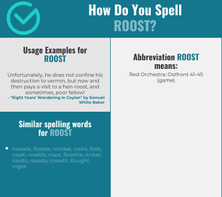 Correct spelling for roost