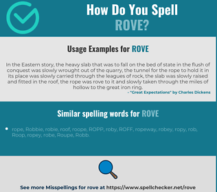 Correct spelling for rove
