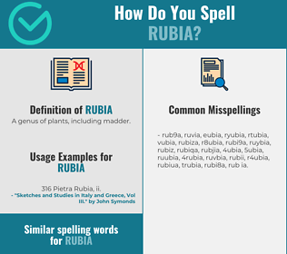 Correct spelling for rubia